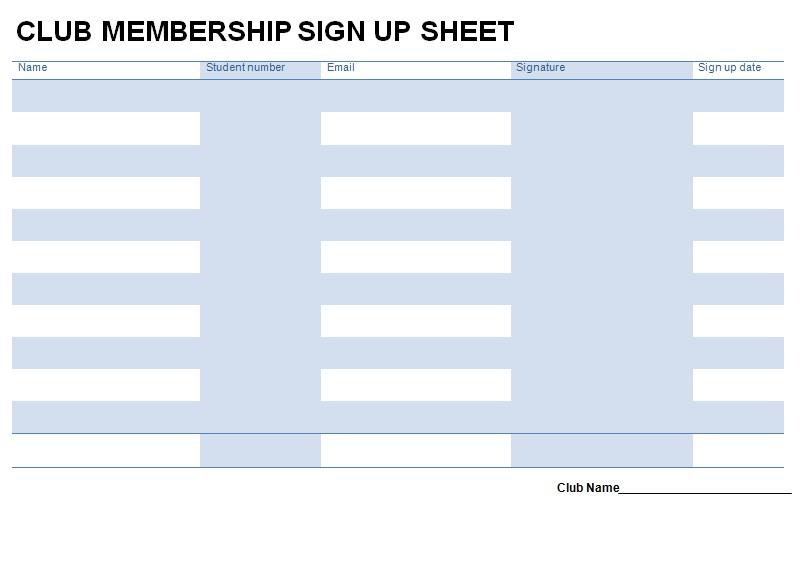 Club Membership Sign Up Sheet