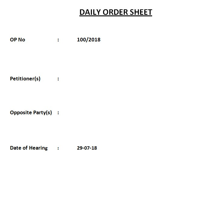 Daily Order Sheet Template
