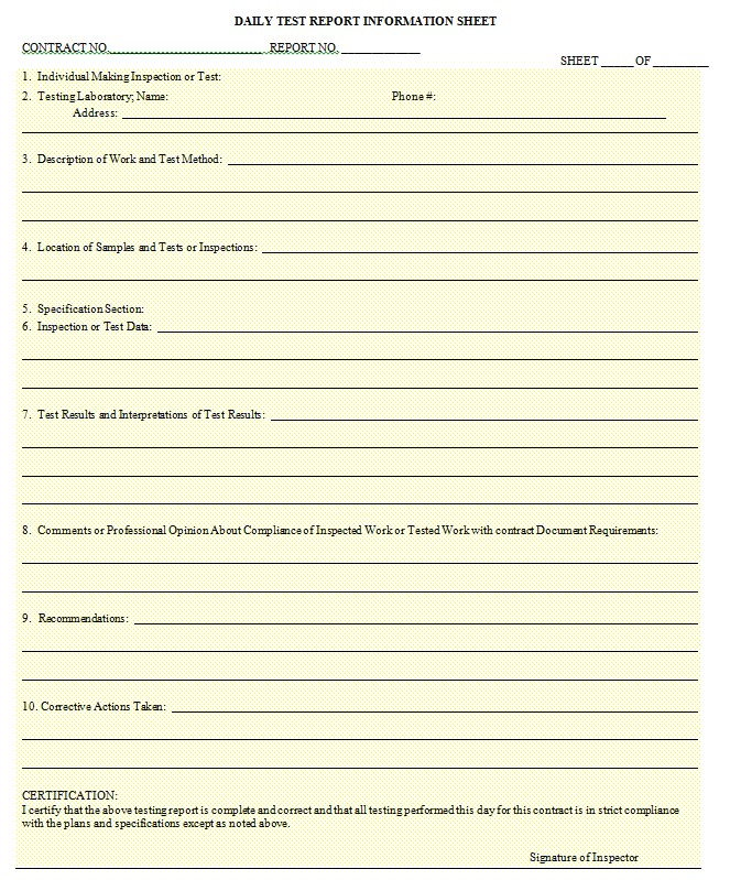 Daily Report Sheet Template in Doc