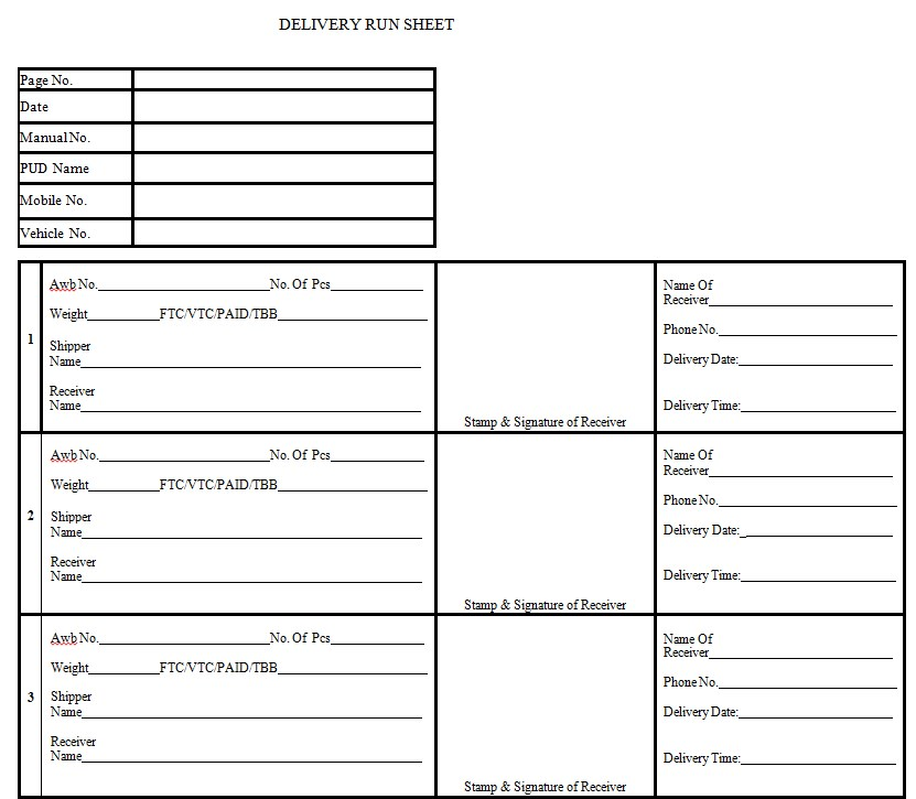 Delivery Run Sheet Template