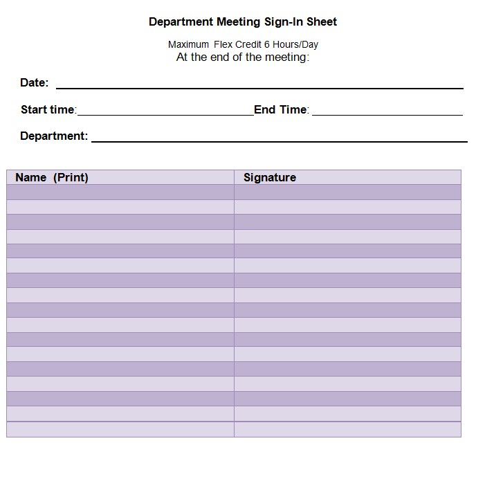 Department Meeting Sign In Sheet Template