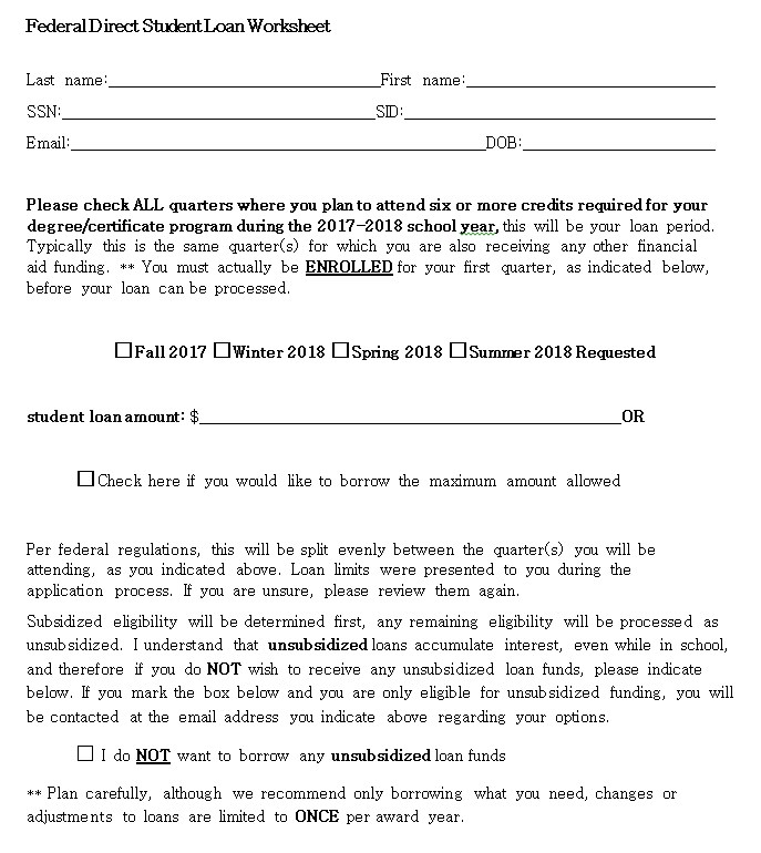 Direct Student Loan Worksheet