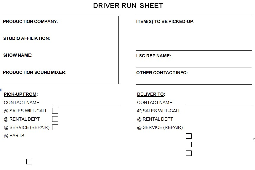 Driver Run Sheet Template