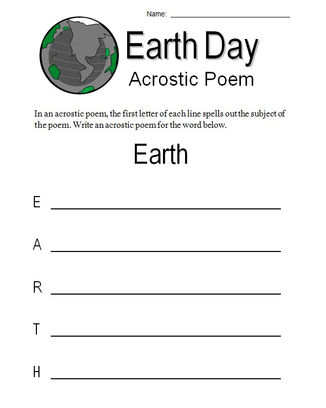 Earth Day Language Art Worksheet Template