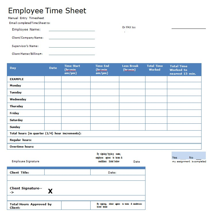 Employee Overtime Sheet Templatein PDF
