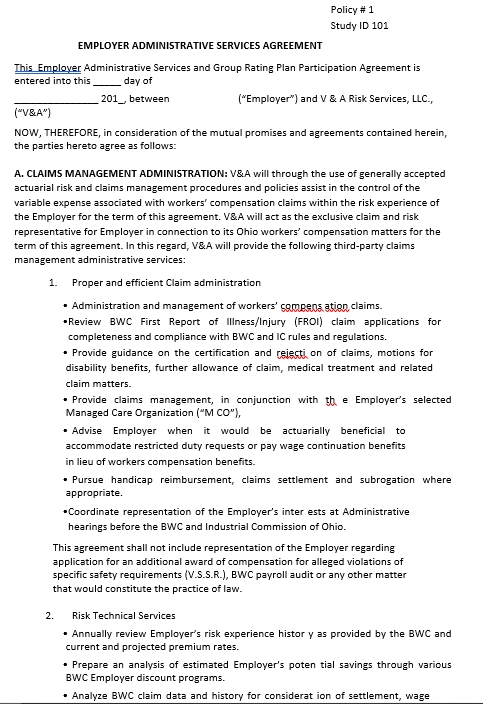 Employer Administrative Services Agreement Template