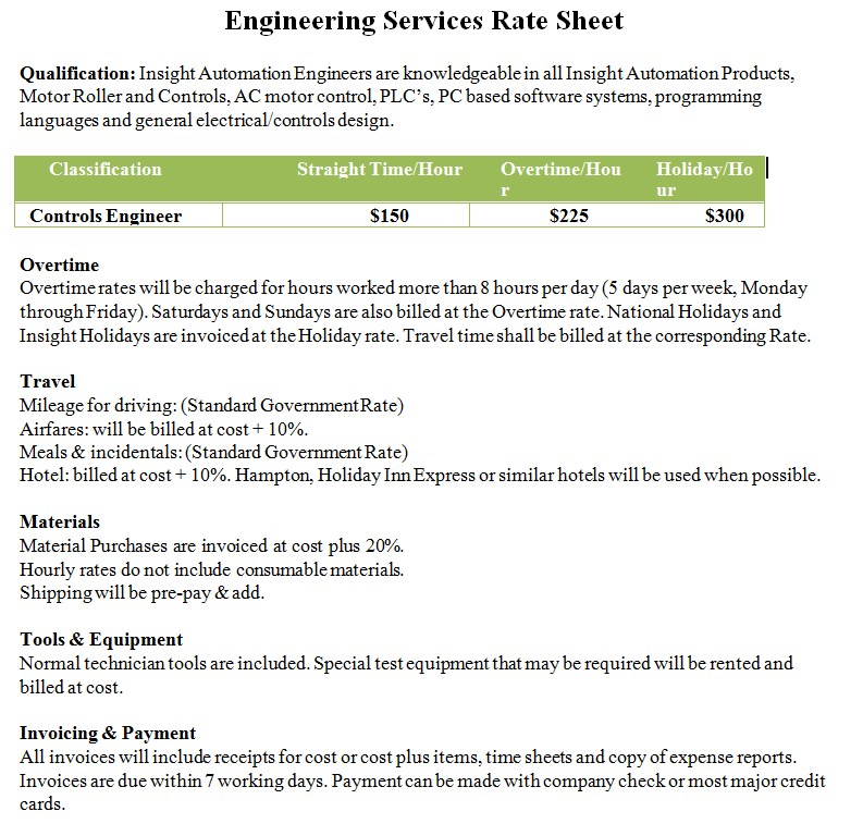 Engineering Rate Sheet Template