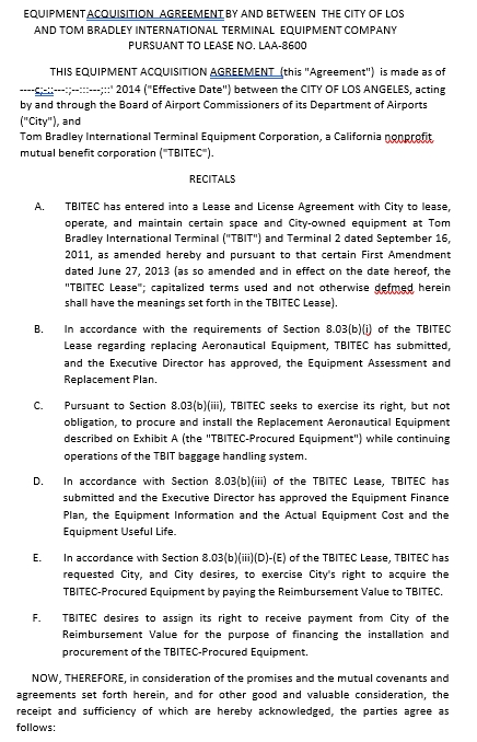 Equipment Acquistion Agreement Template