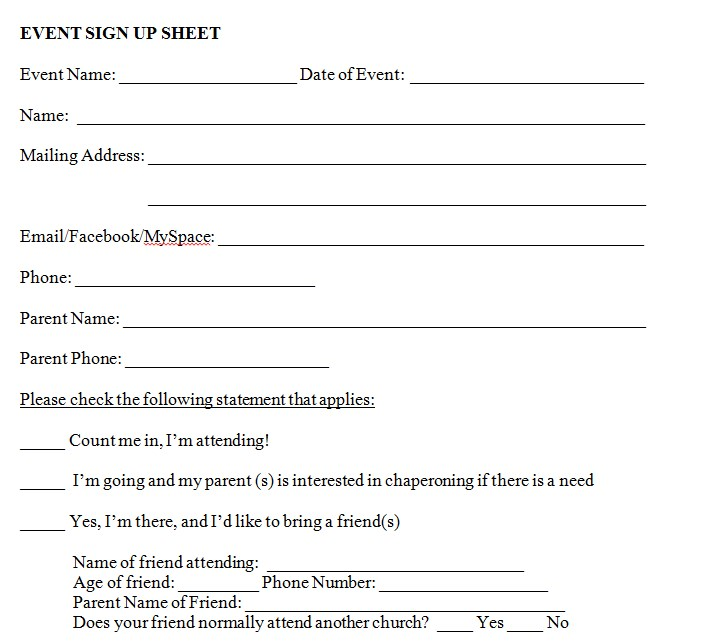 Event Sign Up Sheet Template