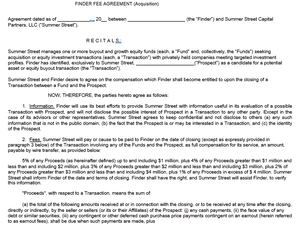 Finder Fee Acquistion Agreement Template