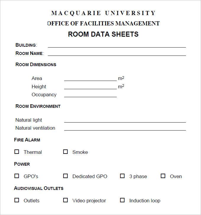 Free Room Data Sheet Pdf Download 1