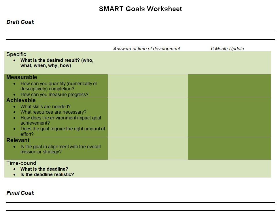 Goal Sheet Template