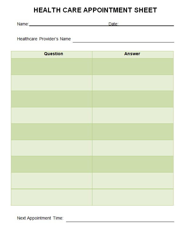 Healthcare Appointment Sheet Template
