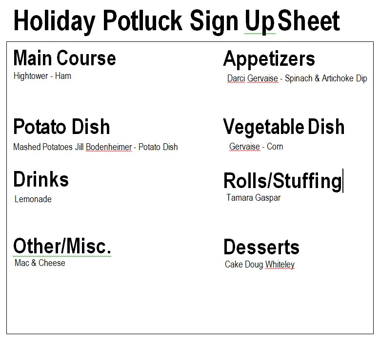 Holiday Potluck Signup Sheet