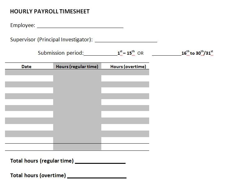 Hourly Payroll Timesheet Template