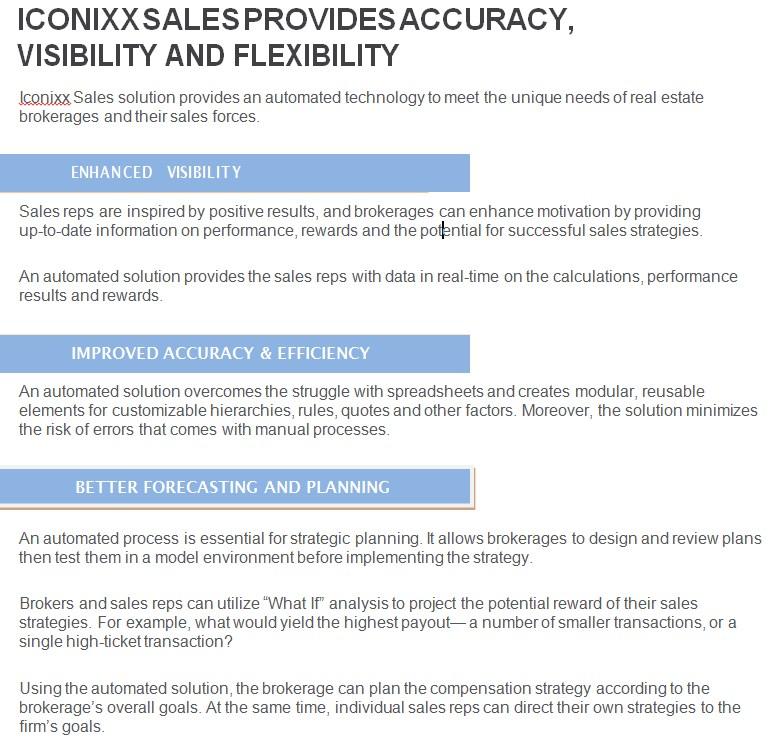 ICONIX Sales Solution Real Estate Datasheet