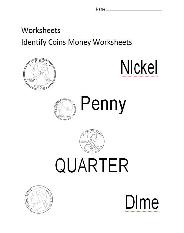 Identify Coins Money WorksheetsKids Template