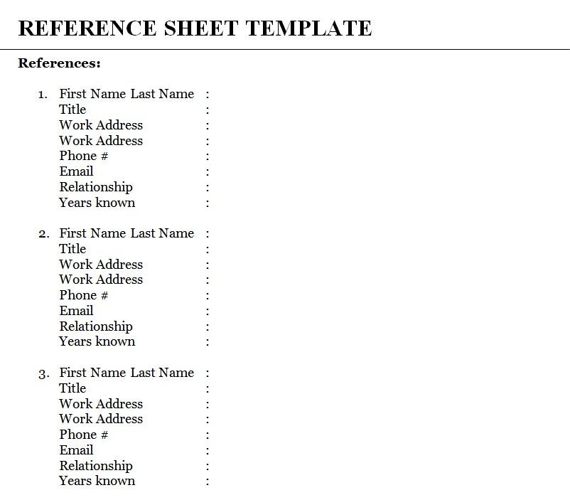 Job Reference Sheet PDF Template
