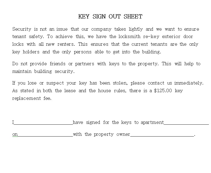 Key Sign Out Sheet PDF Template