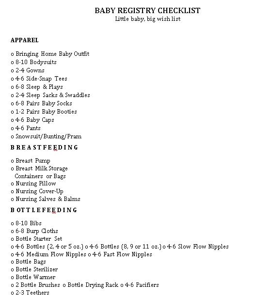 Little Baby Registry Checklist