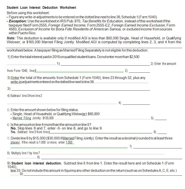 Loan Deduction Worksheet