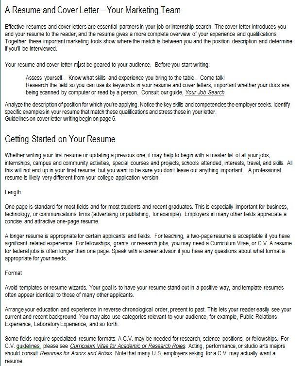 Marketing Resume Cover Sheet