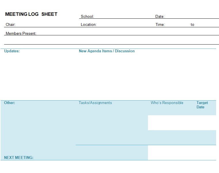 Meeting Log Sheet