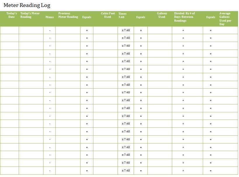Meter Reading Log Sheet