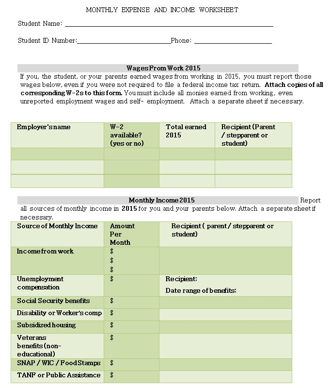 Monthly Expense Income Worksheet1