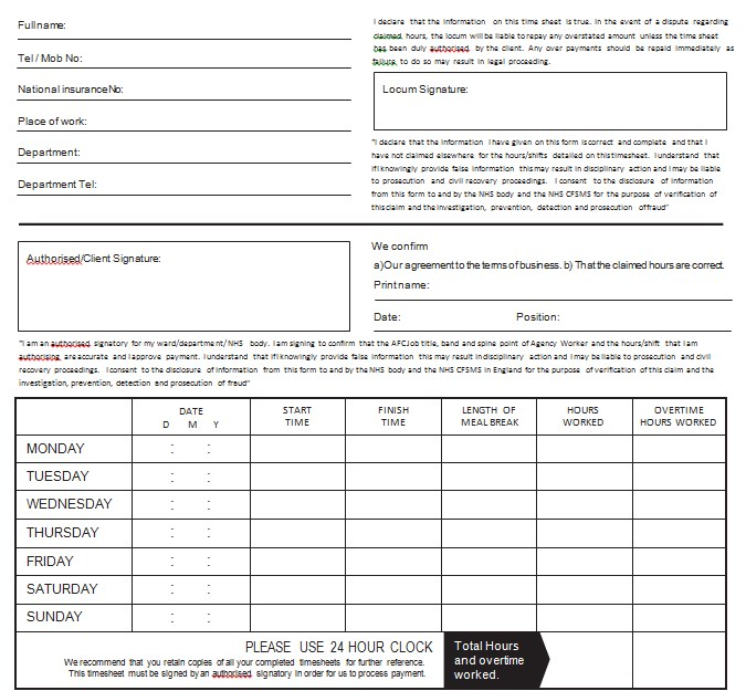 Monthly Overtime Sheet Templatein PDF