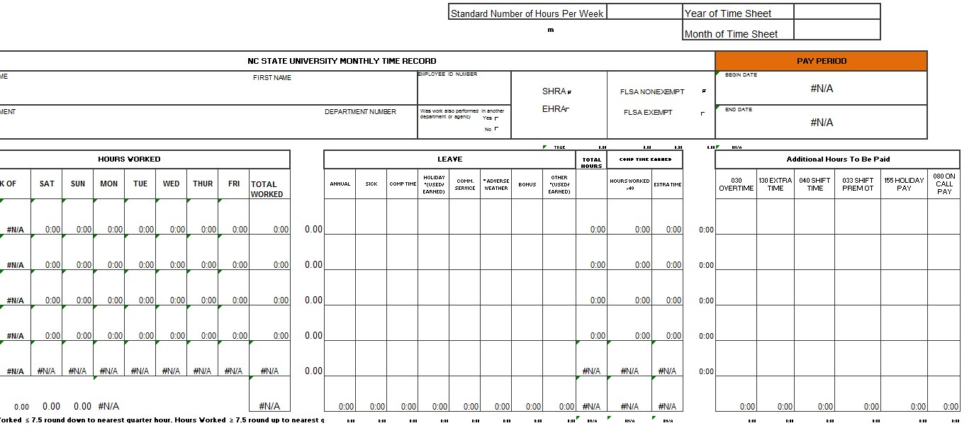Monthly Timesheet Template Excel mat
