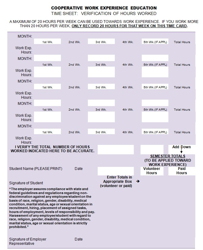 Monthly Timesheet Template in Ms Word mat