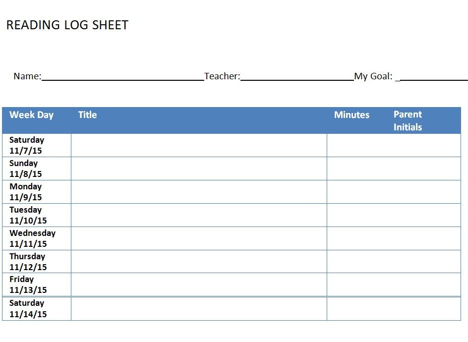 New reading Log Sheet