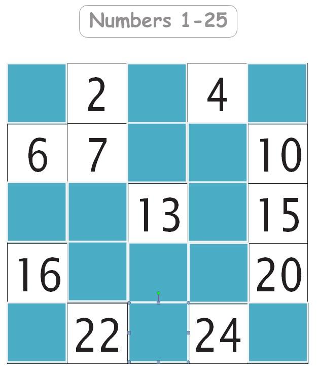Numbers 1 25 Missing Numbers Worksheet Template