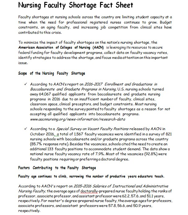 Nursing Faculty Shortage Fact Sheet Template