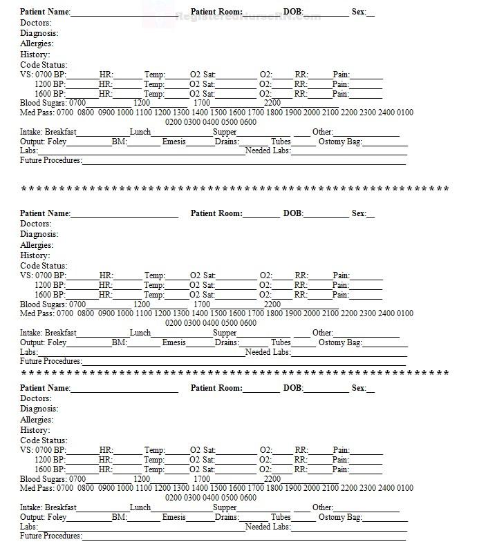 Nursing Report Worksheet Doc