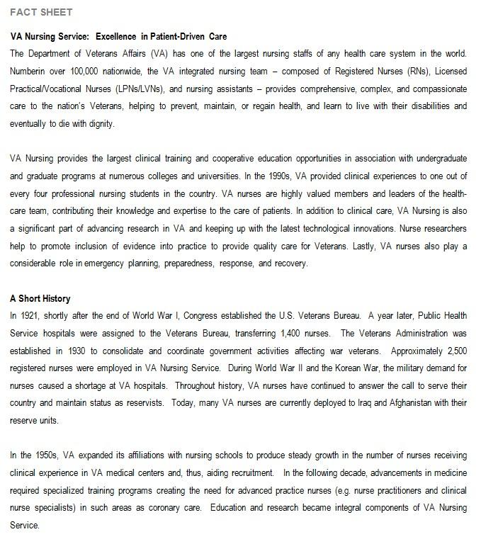 Nursing Service Fact Sheet Template