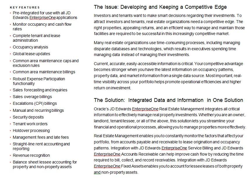 Oracle Real Estate Datasheet