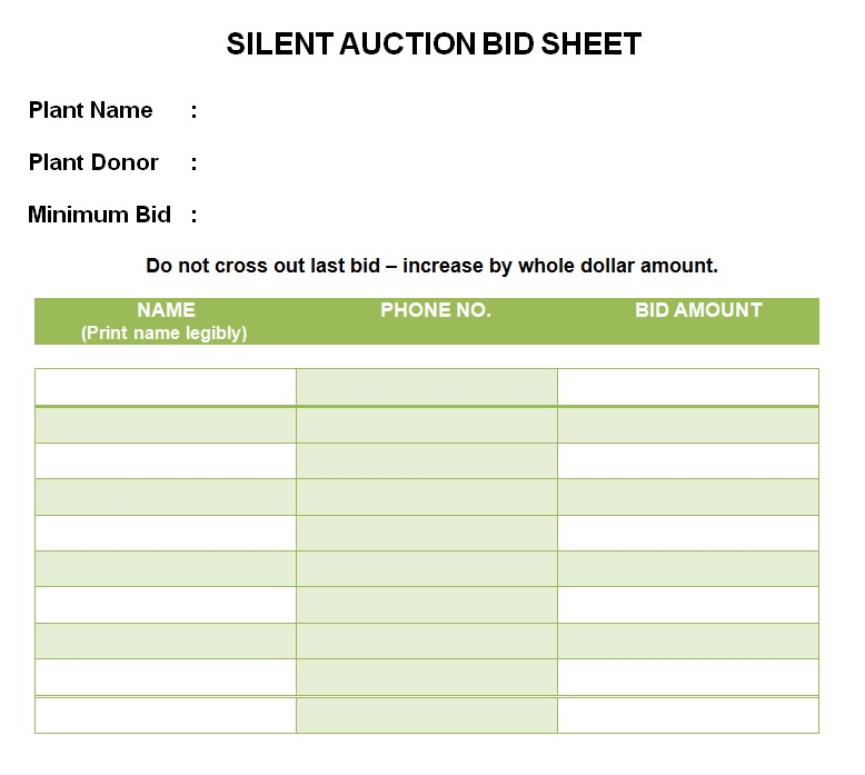 PDF mat Silent Auction Bid Sheet Template 1