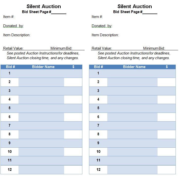 PDF mat Silent Auction Bid Sheet Template