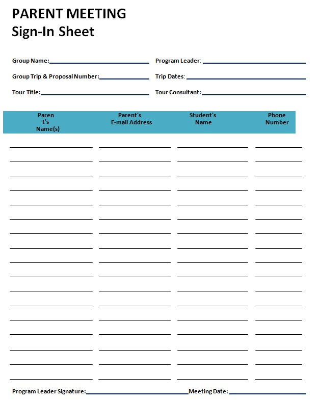 Parent Meeting Sign In Sheet Template