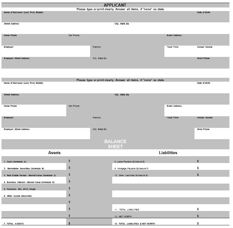 Personal Financial Statement Balance Sheet Template