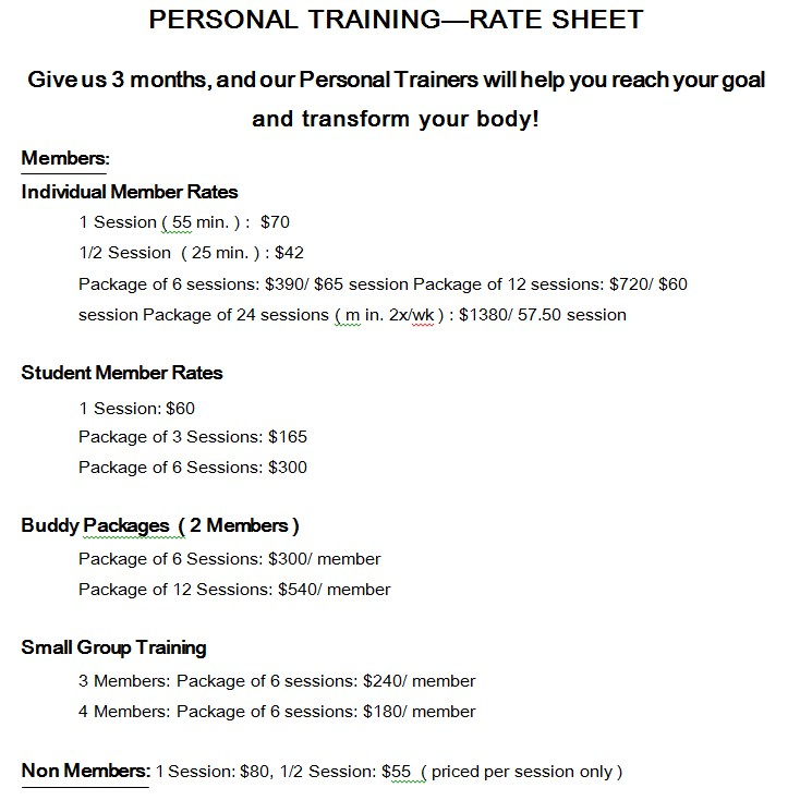 Personal Training Rate Sheet Template