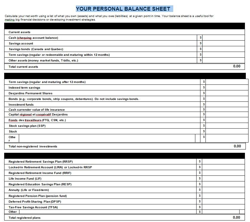 PersonalBalance Sheet Template