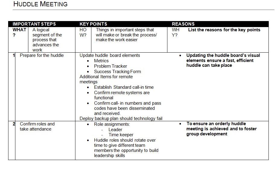 Printable Job Breakdown Sheet