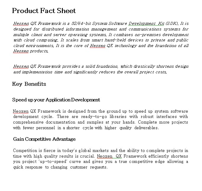 Product Fact Sheet
