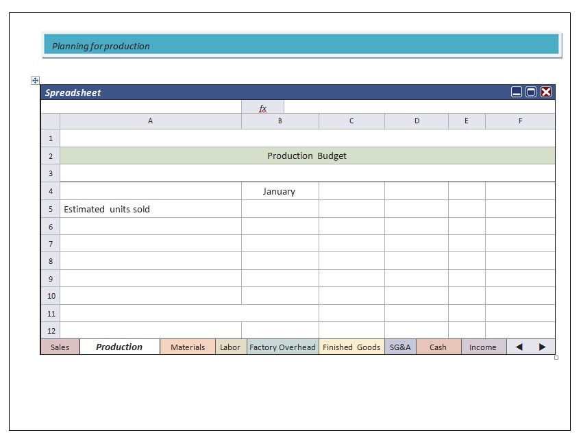 Production PlanningSpreadsheet Example