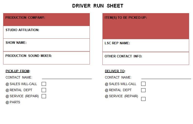 Production Run Sheet Example
