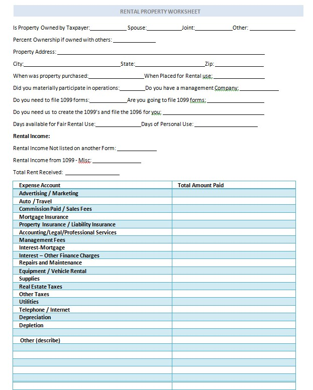 ProfessionalRental Property Worksheet Template