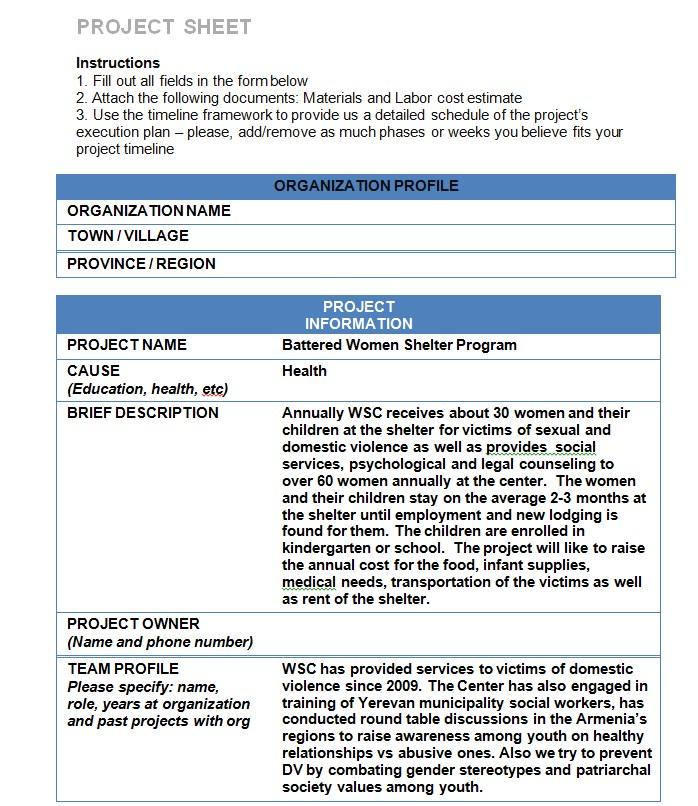 Project Sheet Template Pdf